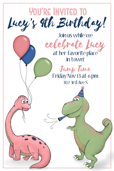 4th birthday dino invite